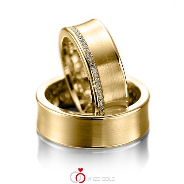 Set klassieke trouwringen in geelgoud 14 kt. met in totaal 0,28 ct. Briljant tw/si van acredo - A-1058-3