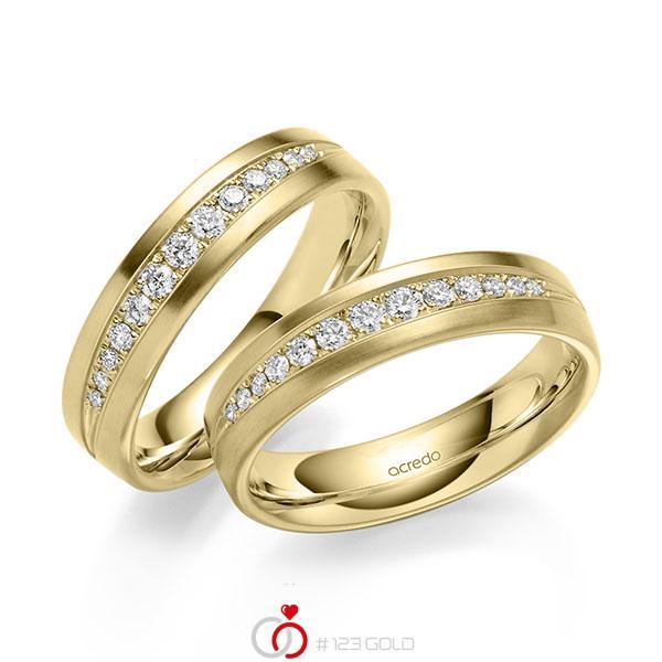 Set klassieke trouwringen in geelgoud 14 kt. met in totaal 0,416 ct. Briljant tw/si van acredo - A-2180-1
