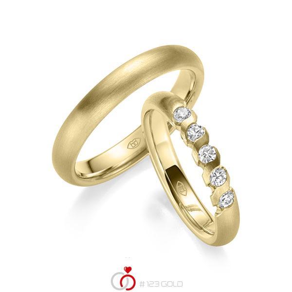 Set Klassieke trouwringen in geelgoud 14 kt. met in totaal 0,4 ct. Briljant tw/si - UQ-1021-3