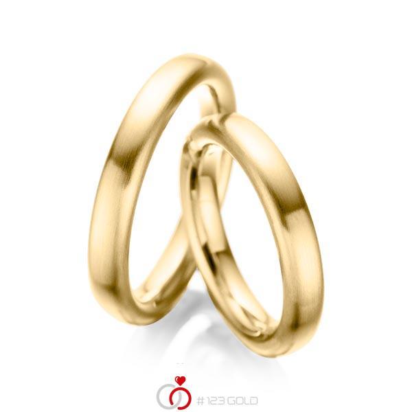 Set klassieke trouwringen in geelgoud 14 kt. van acredo - A-1082-1