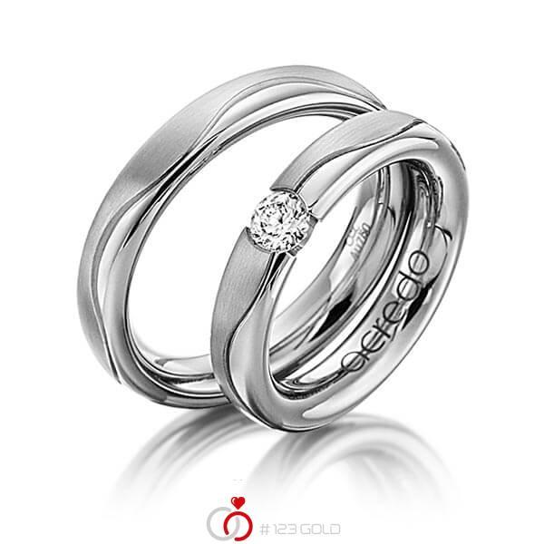 Set Klassieke trouwringen in grijsgoud 14 kt. met 0,3 ct. Briljant tw/si van acredo - A-1120-13