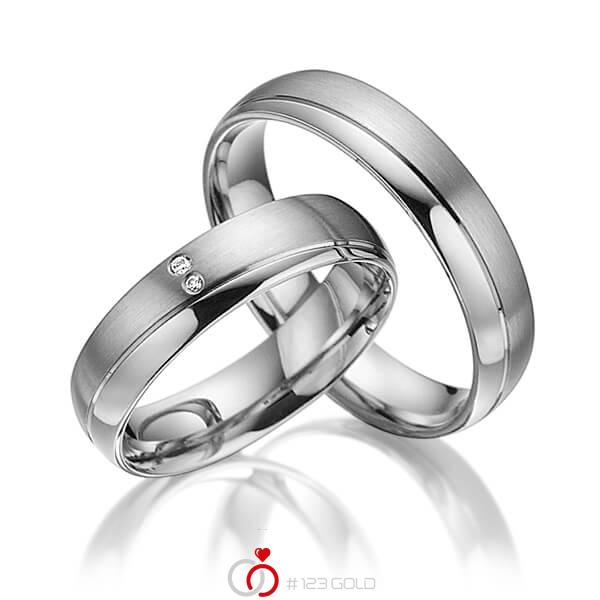 Set Klassieke trouwringen in grijsgoud 14 kt. met in totaal 0,015 ct. Briljant tw/si van acredo - A-3018-9