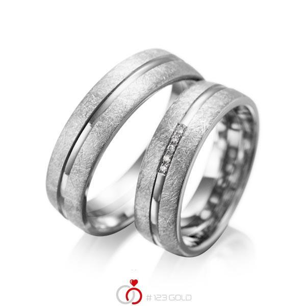 Set Klassieke trouwringen in grijsgoud 14 kt. met in totaal 0,025 ct. Briljant tw/si van acredo - A-1007-7