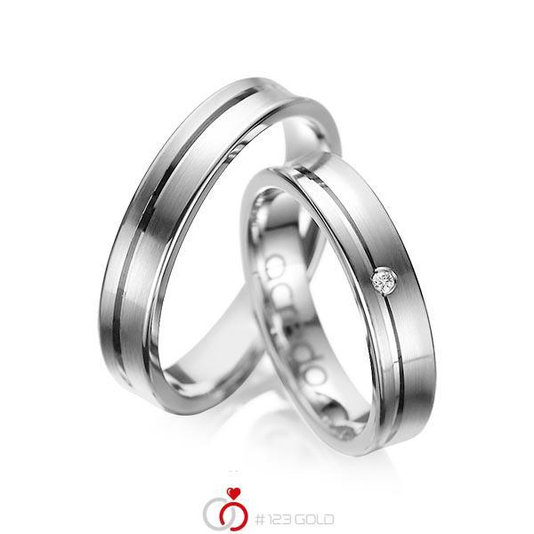 Set Klassieke trouwringen in grijsgoud 14 kt. met in totaal 0,02 ct. Briljant tw/si van acredo - A-1042-5