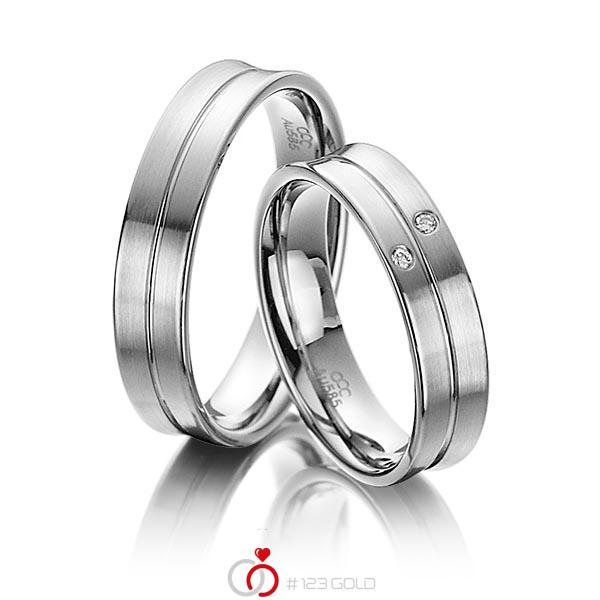 Set Klassieke trouwringen in grijsgoud 14 kt. met in totaal 0,02 ct. Briljant tw/si van acredo - A-4009-5