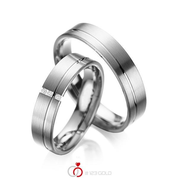Set Klassieke trouwringen in grijsgoud 14 kt. met in totaal 0,03 ct. Briljant tw/si van acredo - A-1037-8