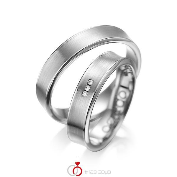 Set Klassieke trouwringen in grijsgoud 14 kt. met in totaal 0,03 ct. Briljant tw/si van acredo - A-1055-7