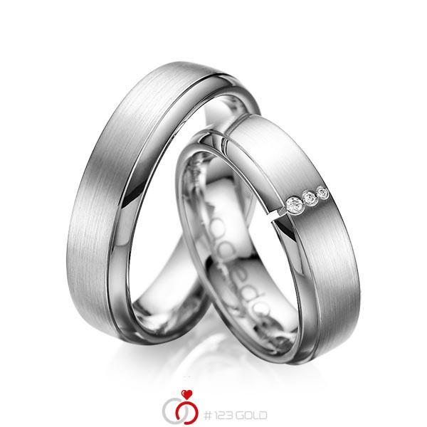 Set Klassieke trouwringen in grijsgoud 14 kt. met in totaal 0,03 ct. Briljant tw/si van acredo - A-1067-7