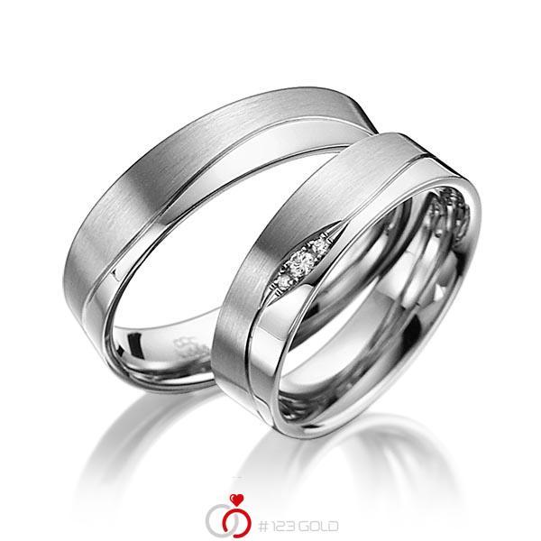 Set Klassieke trouwringen in grijsgoud 14 kt. met in totaal 0,03 ct. Briljant tw/si van acredo - A-3012-3
