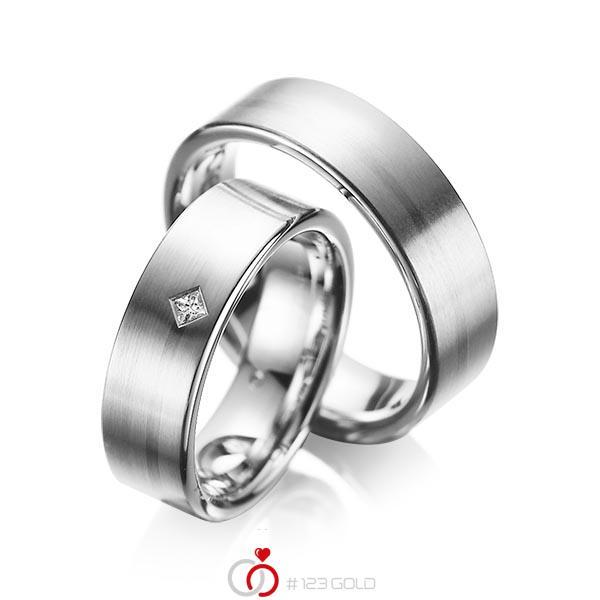 Set klassieke trouwringen in grijsgoud 14 kt. met in totaal 0,03 ct. Princess-Diamant tw/si van acredo - A-1060-2