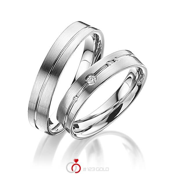 Set Klassieke trouwringen in grijsgoud 14 kt. met in totaal 0,045 ct. Briljant tw/si van acredo - A-3007-5