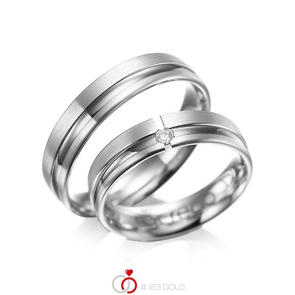 Set Klassieke trouwringen in grijsgoud 14 kt. met in totaal 0,04 ct. Briljant tw/si van acredo - A-1047-2