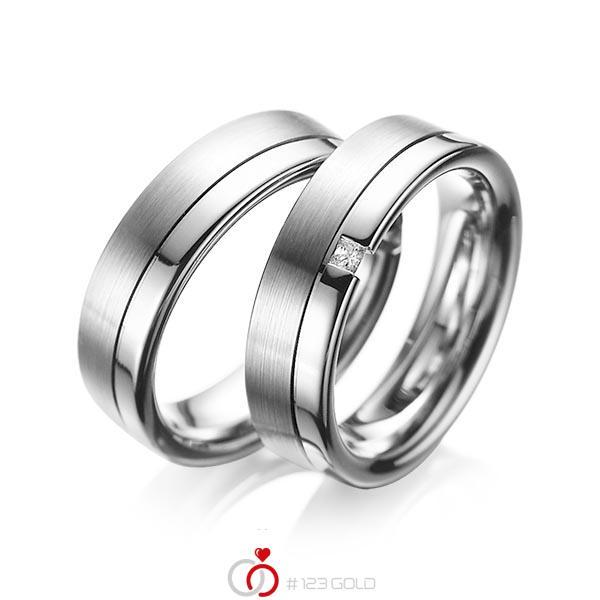 Set Klassieke trouwringen in grijsgoud 14 kt. met in totaal 0,04 ct. Princess-Diamant tw/si van acredo - A-1064-8