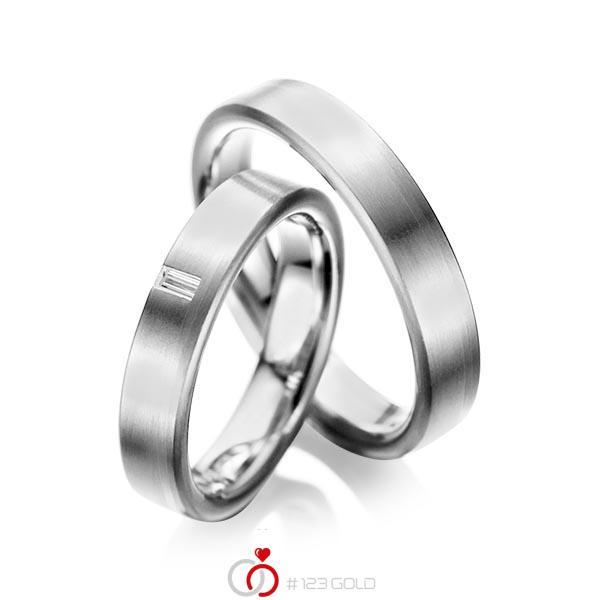 Set klassieke trouwringen in grijsgoud 14 kt. met in totaal 0,05 ct. Baguette-Diamant tw,vs van acredo - A-1022-7
