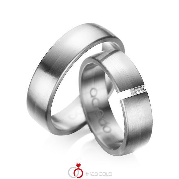 Set klassieke trouwringen in grijsgoud 14 kt. met in totaal 0,05 ct. Baguette-Diamant tw,vs van acredo - A-1035-13