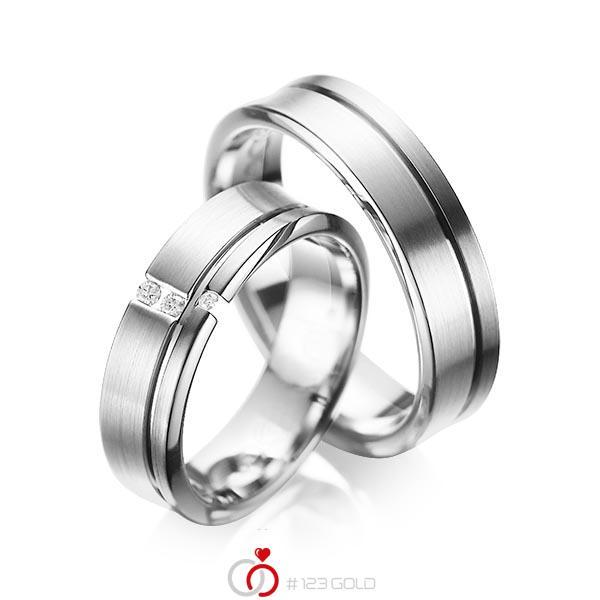 Set Klassieke trouwringen in grijsgoud 14 kt. met in totaal 0,05 ct. Briljant tw/si van acredo - A-1088-2