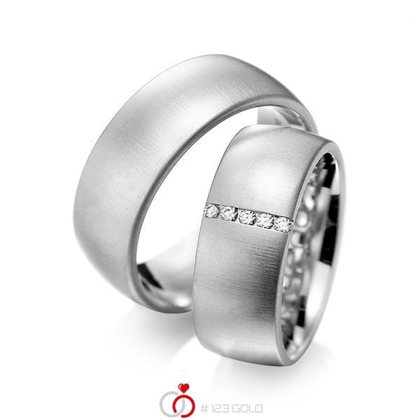 Set klassieke trouwringen in grijsgoud 14 kt. met in totaal 0,075 ct. Briljant tw/si van acredo - A-1092-3