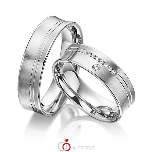 Set Klassieke trouwringen in grijsgoud 14 kt. met in totaal 0,076 ct. Briljant tw/si van acredo - A-3014-2