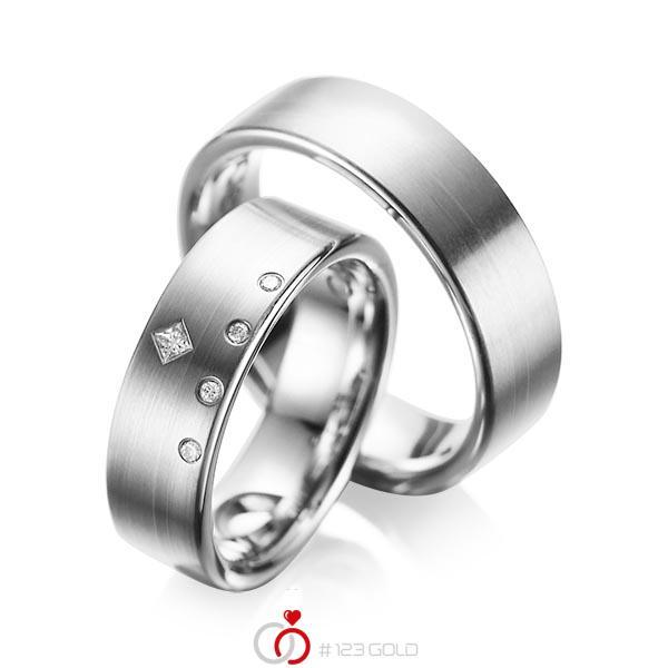 Set klassieke trouwringen in grijsgoud 14 kt. met in totaal 0,07 ct. Briljant & Princess-Diamant tw/si tw,vs van acredo - A-1038-2