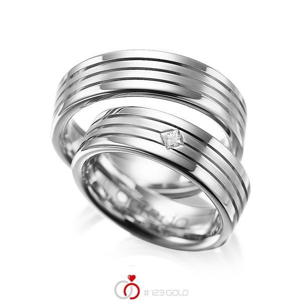 Set Klassieke trouwringen in grijsgoud 14 kt. met in totaal 0,08 ct. Princess-Diamant tw/si van acredo - A-1023-7