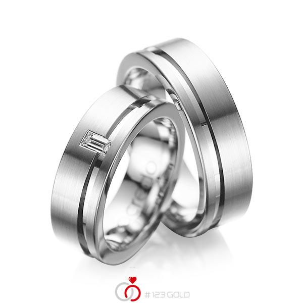 Set Klassieke trouwringen in grijsgoud 14 kt. met in totaal 0,12 ct. Baguette-Diamant tw,vs van acredo - A-1017-4