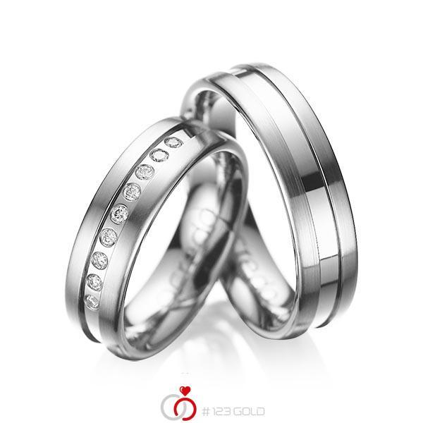 Set Klassieke trouwringen in grijsgoud 14 kt. met in totaal 0,135 ct. Briljant tw/si van acredo - A-1006-3