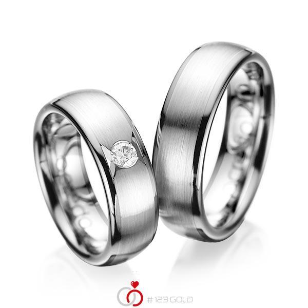 Set Klassieke trouwringen in grijsgoud 14 kt. met in totaal 0,15 ct. Briljant tw/si van acredo - A-1065-11