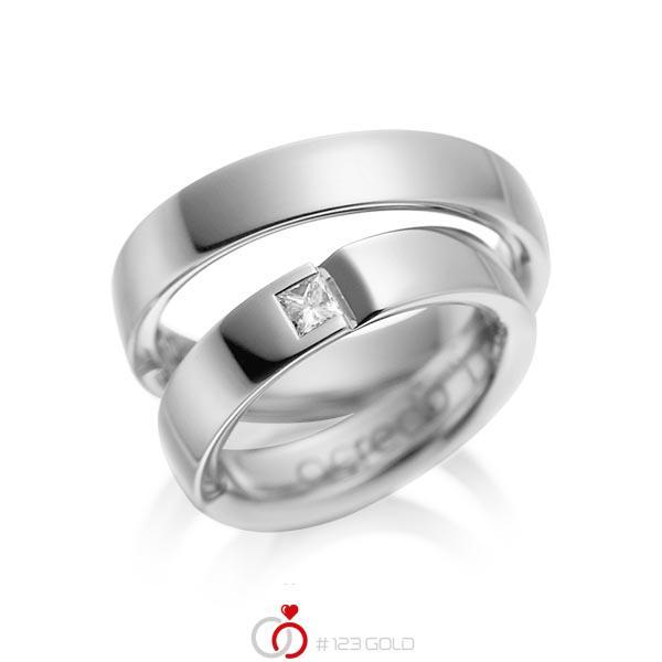 Set klassieke trouwringen in grijsgoud 14 kt. met in totaal 0,15 ct. Princess-Diamant tw/si van acredo - A-1029-4