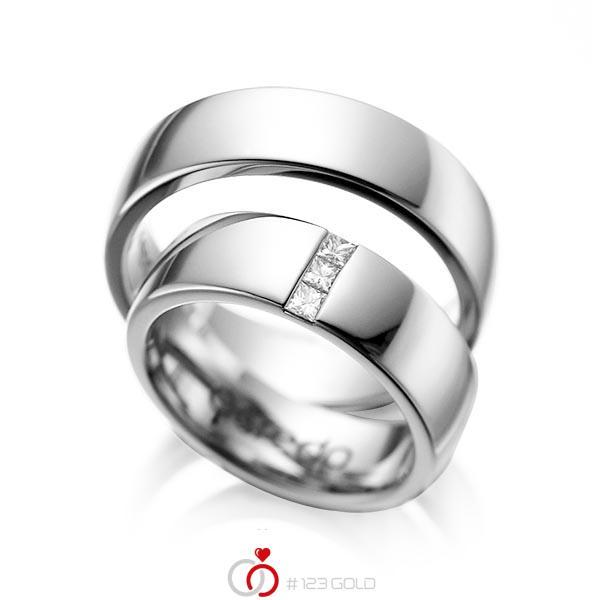 Set klassieke trouwringen in grijsgoud 14 kt. met in totaal 0,15 ct. Princess-Diamant tw/si van acredo - A-1056-4