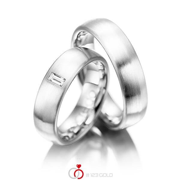 Set klassieke trouwringen in grijsgoud 14 kt. met in totaal 0,1 ct. Baguette-Diamant tw,vs van acredo - A-1002-3