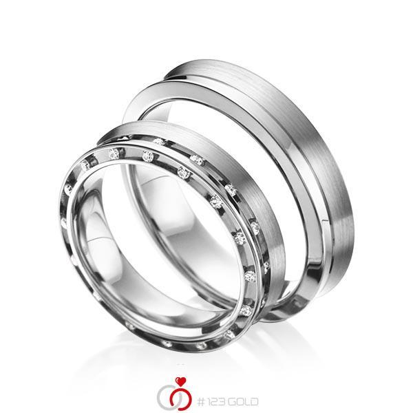 Set Klassieke trouwringen in grijsgoud 14 kt. met in totaal 0,256 ct. Briljant tw/si van acredo - A-6009-6