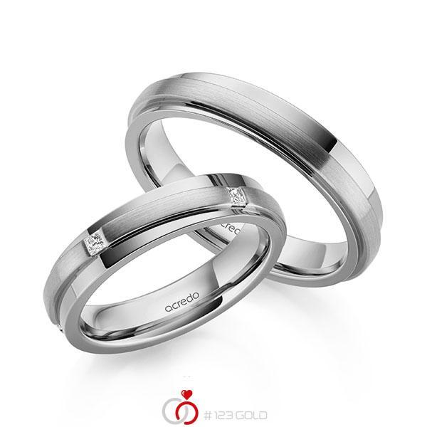 Set Klassieke trouwringen in grijsgoud 14 kt. met in totaal 0,25 ct. Princess-Diamant tw/si van acredo - A-2164-8