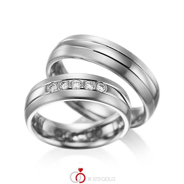 Set Klassieke trouwringen in grijsgoud 14 kt. met in totaal 0,2 ct. Briljant tw/si van acredo - A-1001-8