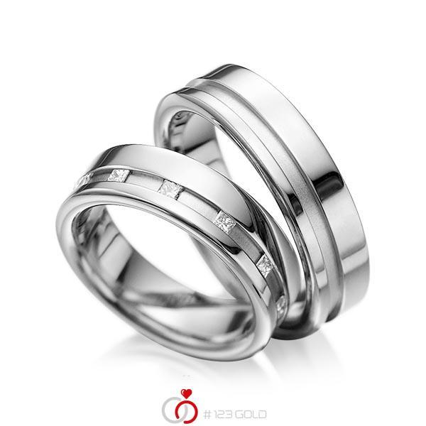 Set Klassieke trouwringen in grijsgoud 14 kt. met in totaal 0,36 ct. Princess-Diamant tw/si van acredo - A-1024-3
