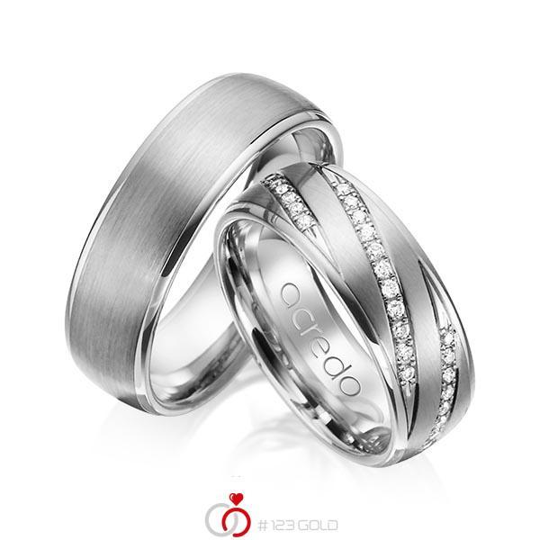 Set Klassieke trouwringen in grijsgoud 14 kt. met in totaal 0,44 ct. Briljant tw/si van acredo - A-1150-11