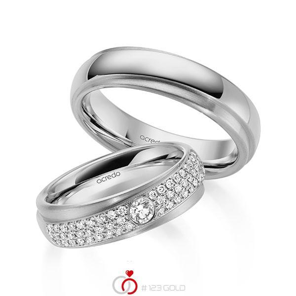 Set Klassieke trouwringen in grijsgoud 14 kt. met in totaal 0,582 ct. Briljant tw/si van acredo - A-2159-3