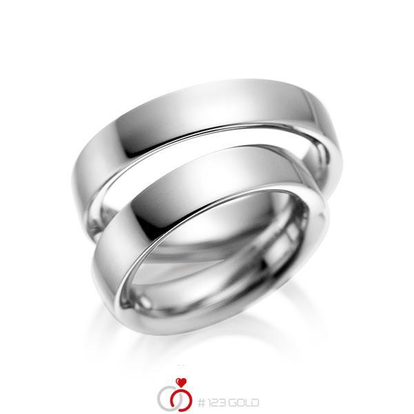 Set klassieke trouwringen in grijsgoud 14 kt. van acredo - A-1078-6