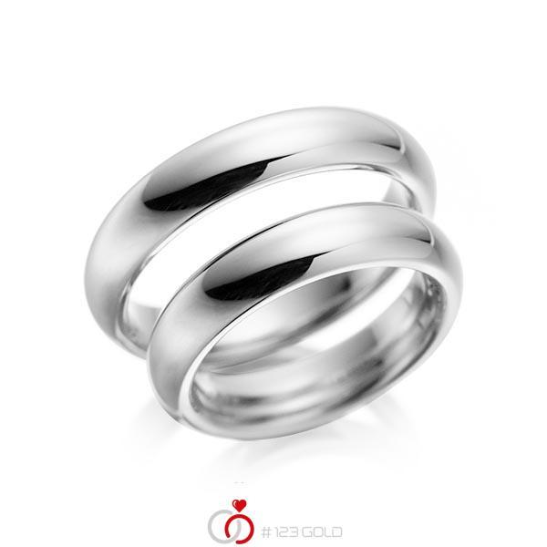 Set klassieke trouwringen in grijsgoud 14 kt. van acredo - A-1079-6