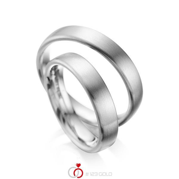Set klassieke trouwringen in grijsgoud 14 kt. van acredo - A-1081-6