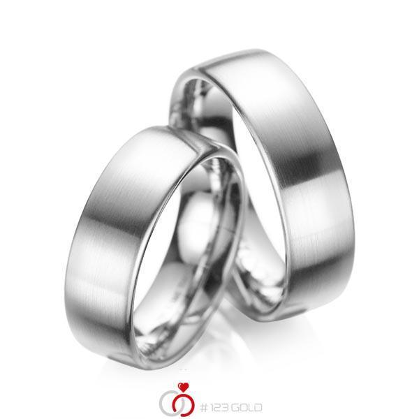 Set klassieke trouwringen in grijsgoud 14 kt. van acredo - A-1083-6