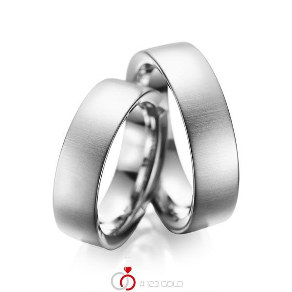 Set klassieke trouwringen in grijsgoud 14 kt. van acredo - A-1084-4
