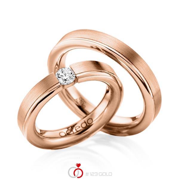 Set Klassieke trouwringen in roodgoud 14 kt. met 0,3 ct. Briljant tw,vs van acredo - A-1121-11