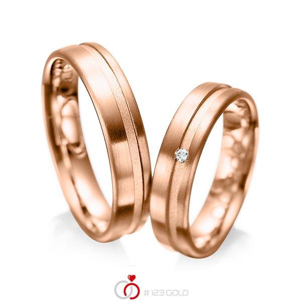 Set Klassieke trouwringen in roodgoud 14 kt. met in totaal 0,02 ct. Briljant tw/si van acredo - A-1044-6