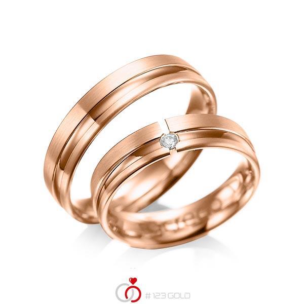 Set Klassieke trouwringen in roodgoud 14 kt. met in totaal 0,04 ct. Briljant tw/si van acredo - A-1047-6