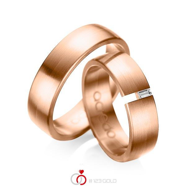 Set klassieke trouwringen in roodgoud 14 kt. met in totaal 0,05 ct. Baguette-Diamant tw,vs van acredo - A-1035-8