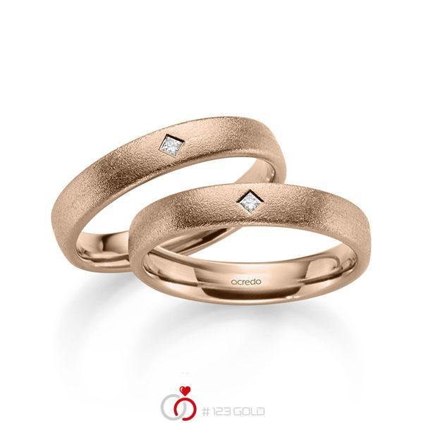 Set klassieke trouwringen in roodgoud 14 kt. met in totaal 0,05 ct. Princess-Diamant tw/si van acredo - A-2184-7