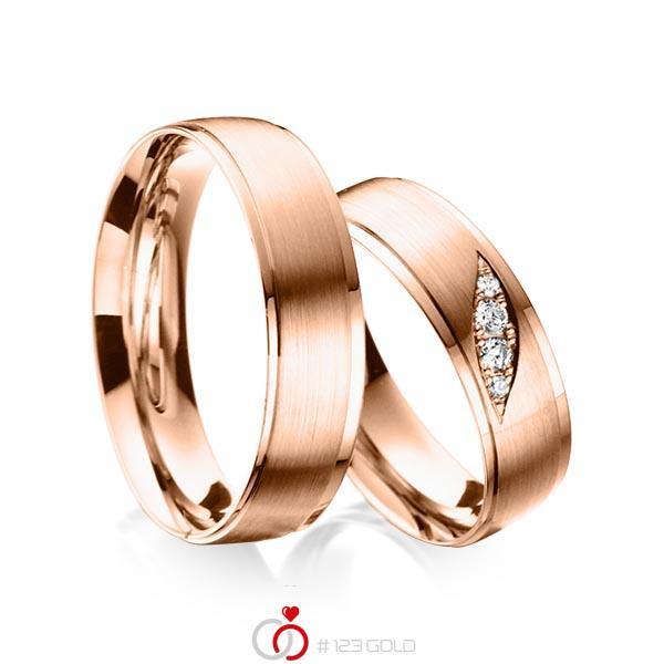 Set Klassieke trouwringen in roodgoud 14 kt. met in totaal 0,08 ct. Briljant tw/si van acredo - A-6011-4
