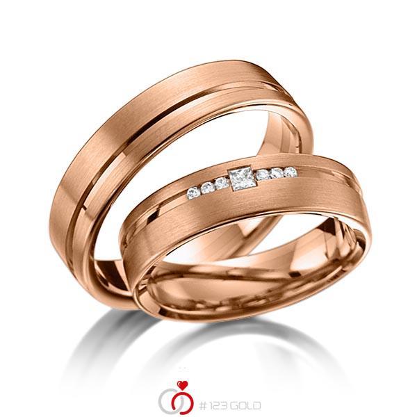 Set Klassieke trouwringen in roodgoud 14 kt. met in totaal 0,098 ct. Briljant & Princess-Diamant tw/si van acredo - A-6013-4