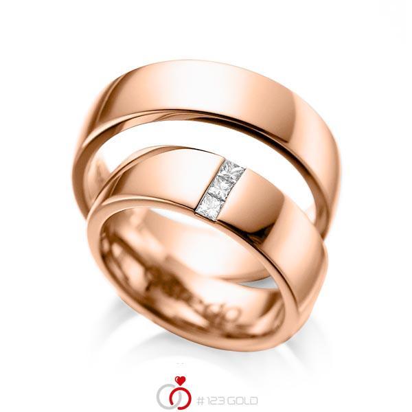 Set klassieke trouwringen in roodgoud 14 kt. met in totaal 0,15 ct. Princess-Diamant tw/si van acredo - A-1056-6