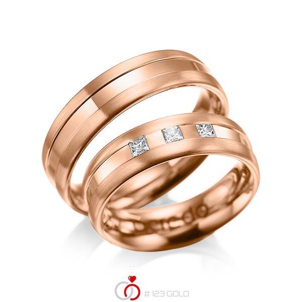Set Klassieke trouwringen in roodgoud 14 kt. met in totaal 0,18 ct. Princess-Diamant tw/si van acredo - A-1021-7